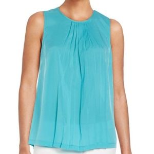 French Connection Polly Plains Pleated Top in Blue